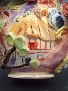 Alice and Wonderland Teapot The Rabbits House 225x300 Ceramics: Alice and Wonderland Tea Set