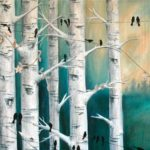 Mixed Media Art: Phone Lines and Birch Trees
