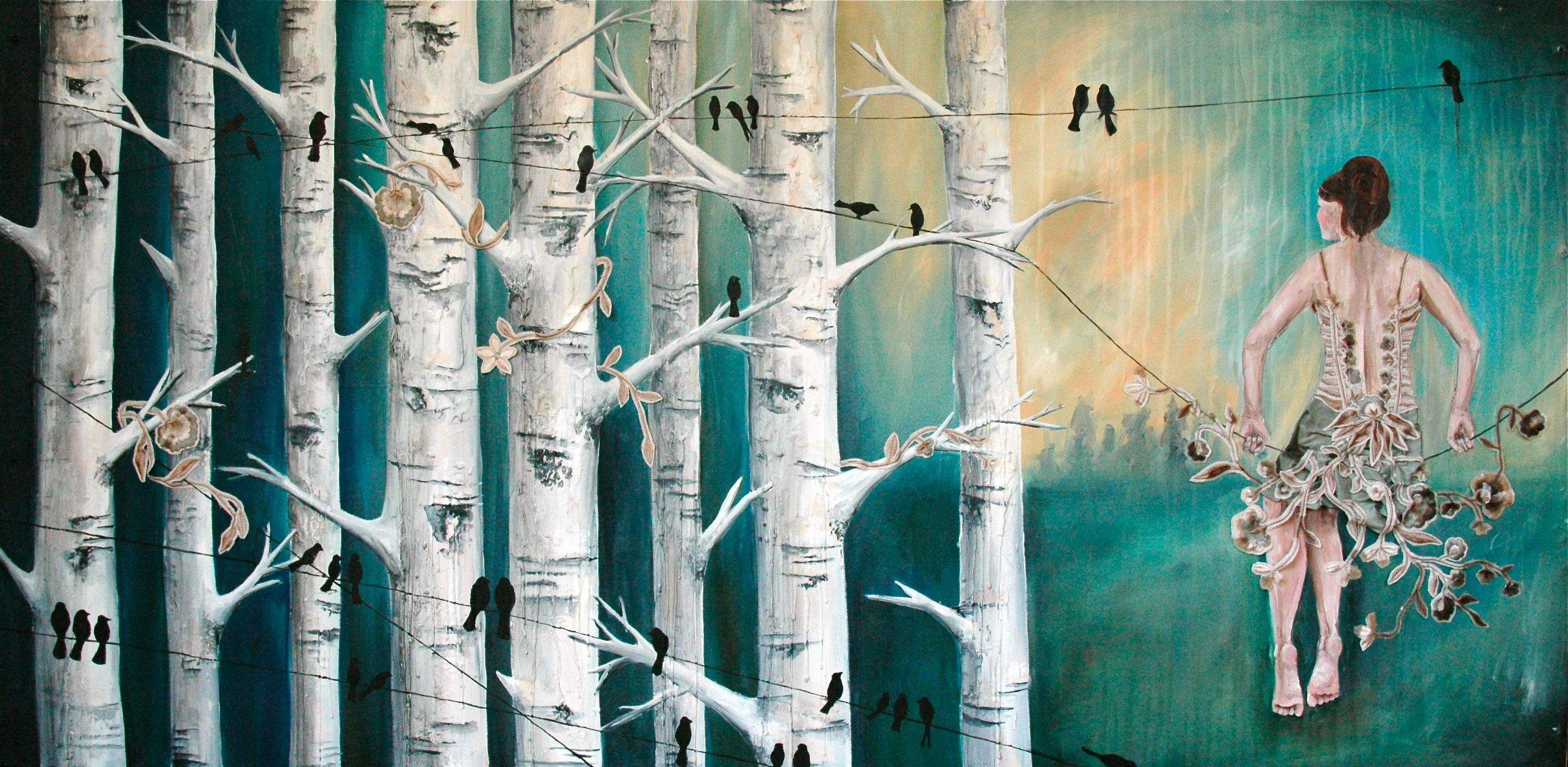 Created in 2010. This was the start of my transition into encaustic. The birch trees were layered with encaustic, carved, dripped, and painting into.