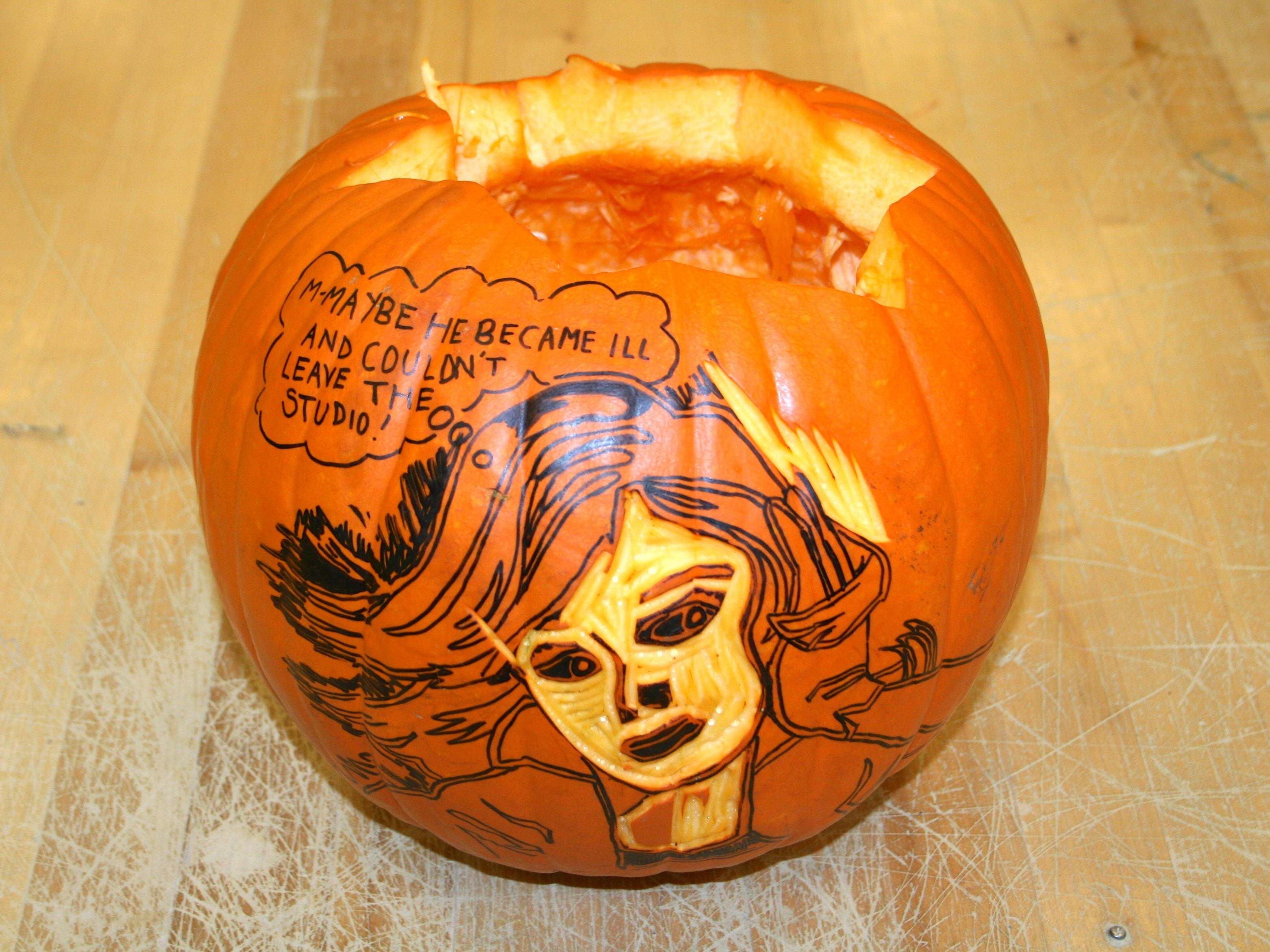 Craft project artistic pumpkin carving look between the