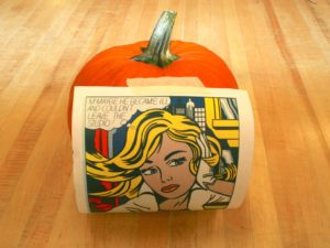 Art Lesson Pumpkin Relief Carving Tape to Pumpkin 300x225 Craft Project: Artistic Pumpkin Carving