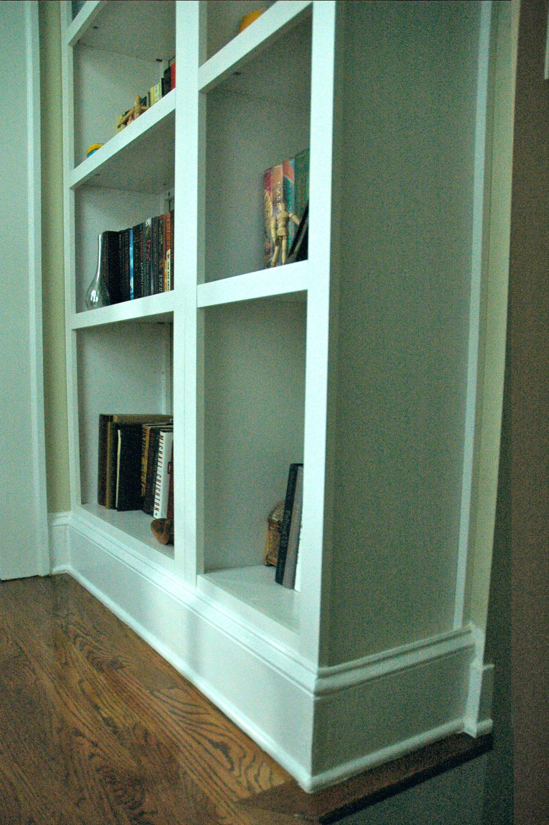 Built In Bookcase Craft Project Fake Built In Bookcase Look Between The Lines