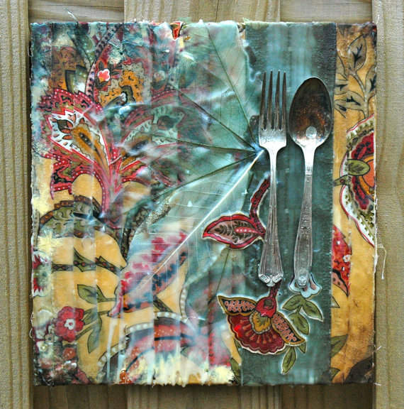 Mixed Media Art-Fork and Spoon