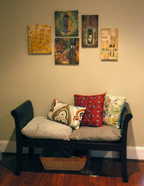 Mixed Media Art-Grouping with Bench