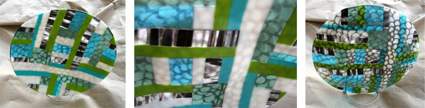 Fused Glass Geometric Blue and Green Plate Wesleyan Artist Market