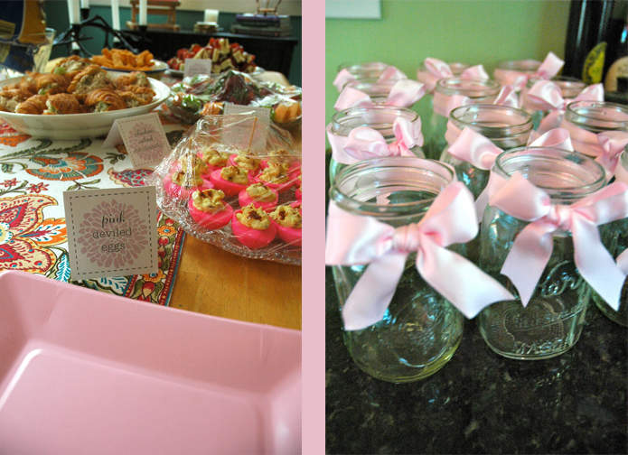 Baby Shower on a Budget-Food Table and Mason Jar Glasses