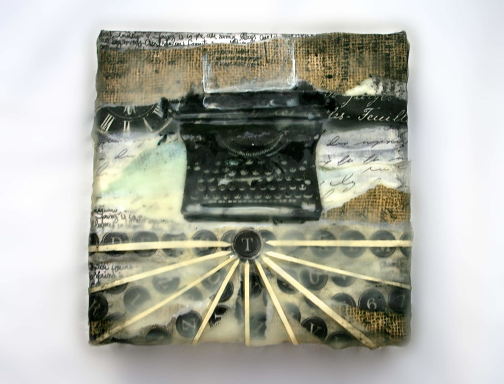 Antique and Vintage Inrpired Typewriter- Encaustic Collage Art