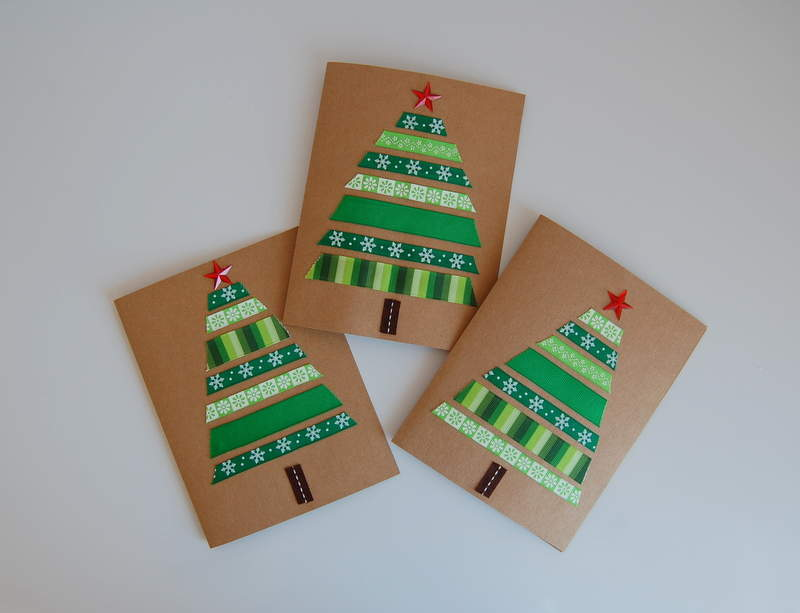 DIY-Christmas-card-green-ribbon-trees