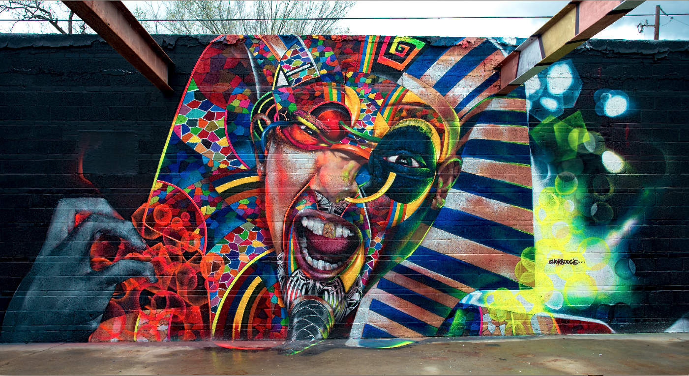 Spray paint murals chor boogie for Airbrush mural painting