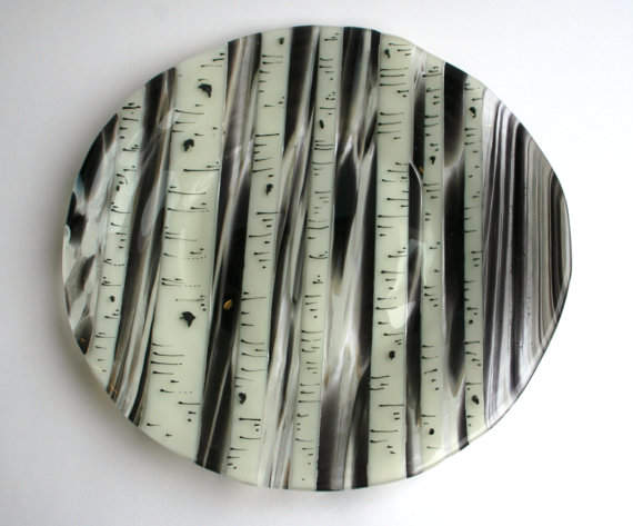 Birch Tree Plate Large Fused Glass Paint: Birch Tree Dinner Plates