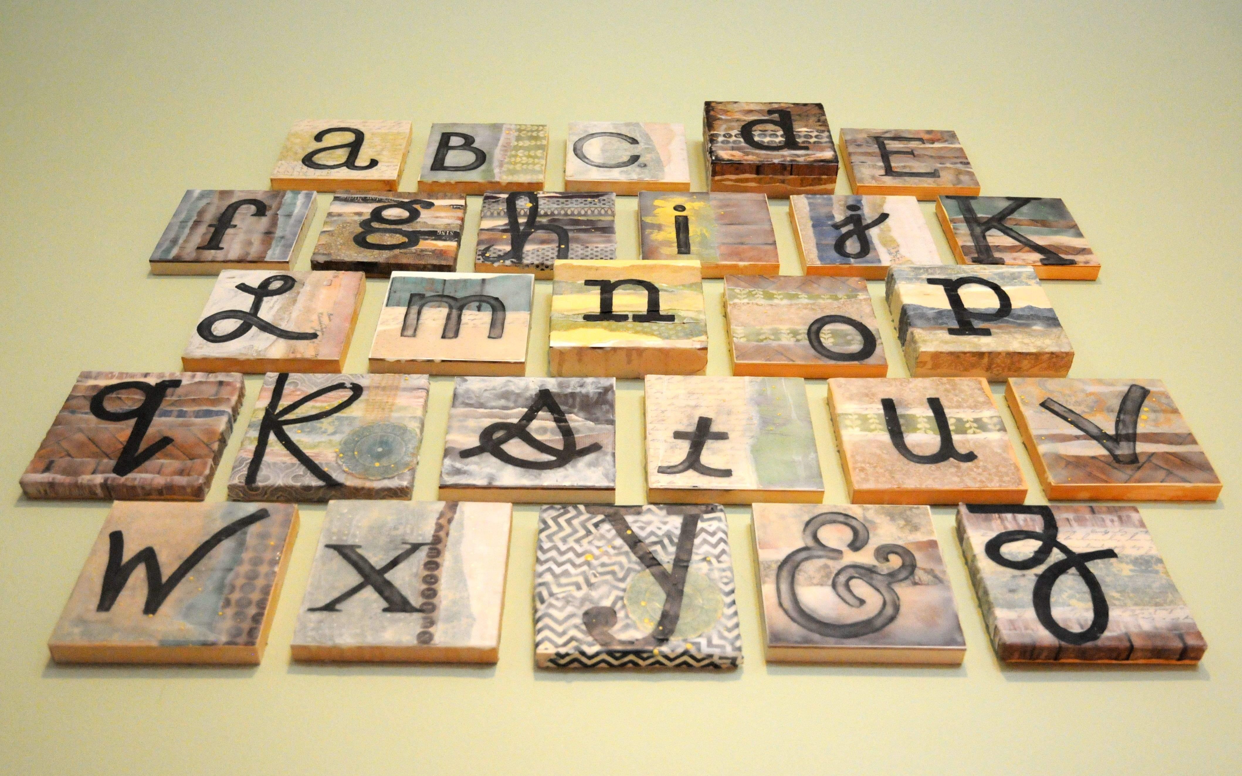 Encaustic Alphabet Painting: 6\