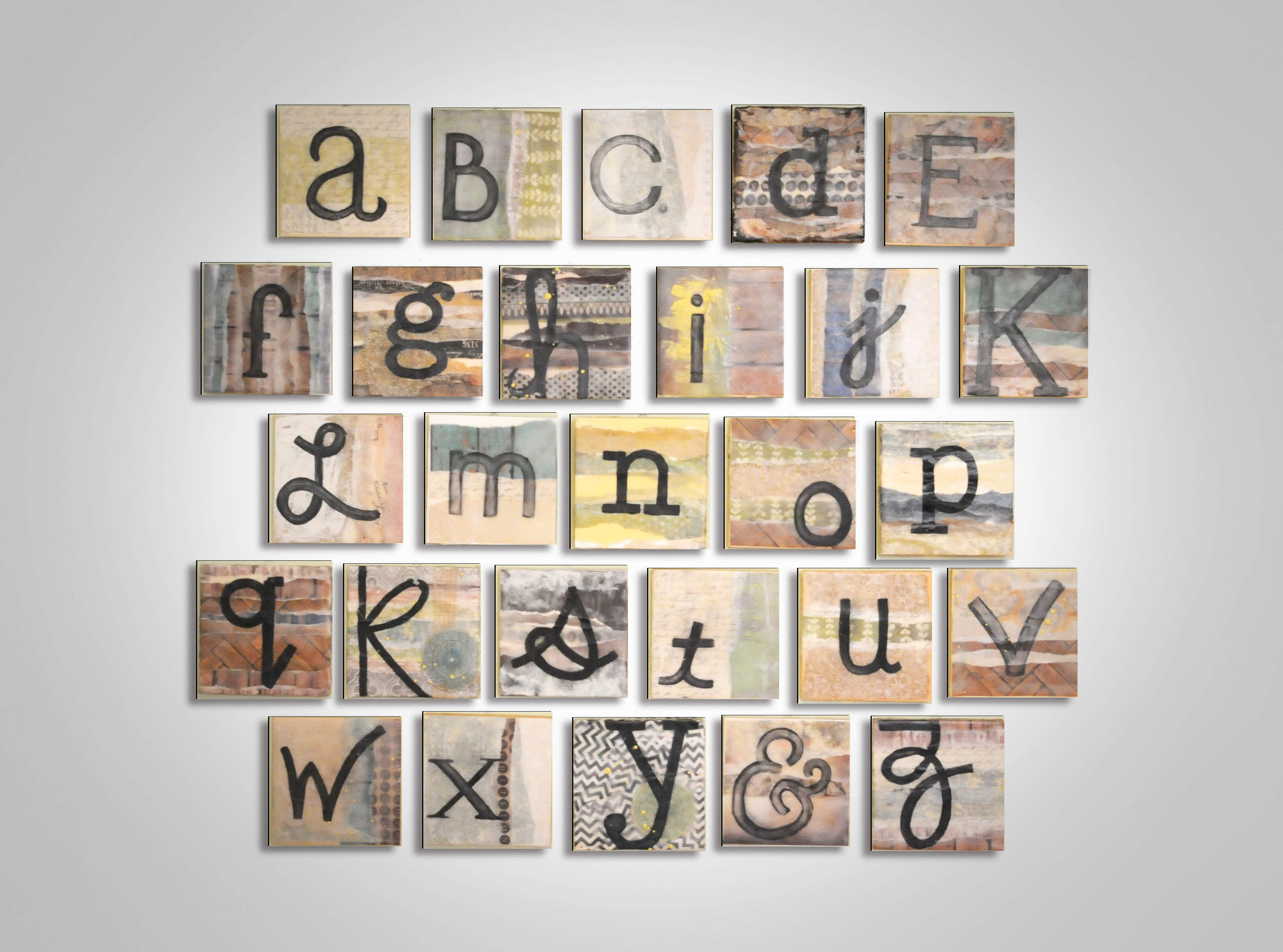 alphabet Encaustic Alphabet Painting: 6x6 ABCs