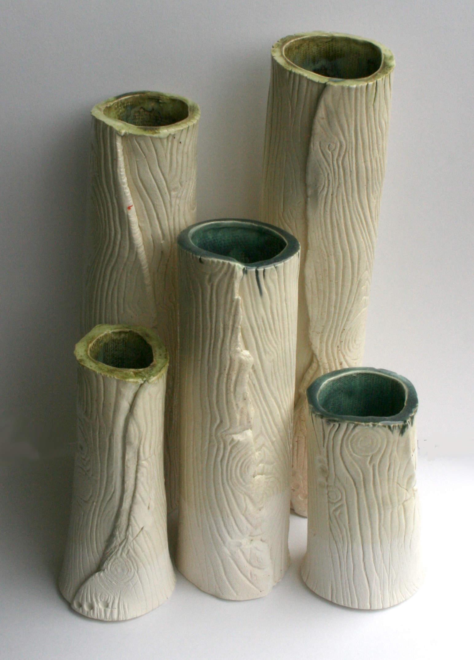 Handmade ceramics wood grain mugs and vases for Handmade pots design