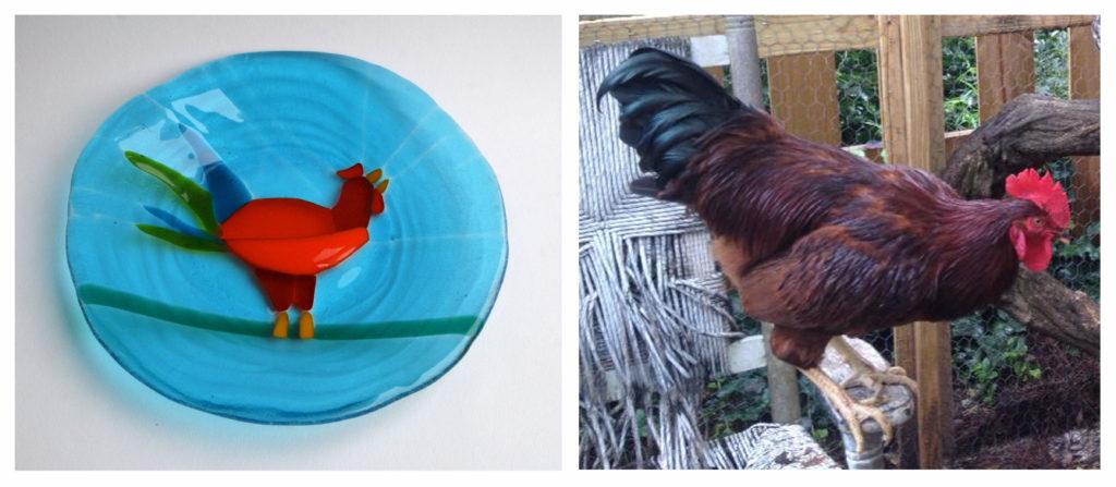 Richard Parker 1024x447 Fused Glass Plates: Backyard Chicken Decor