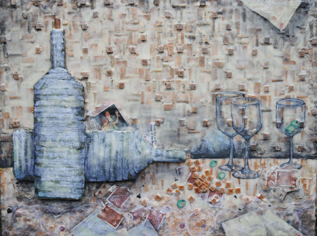 Wine Cork Mixed Media, Finished Piece