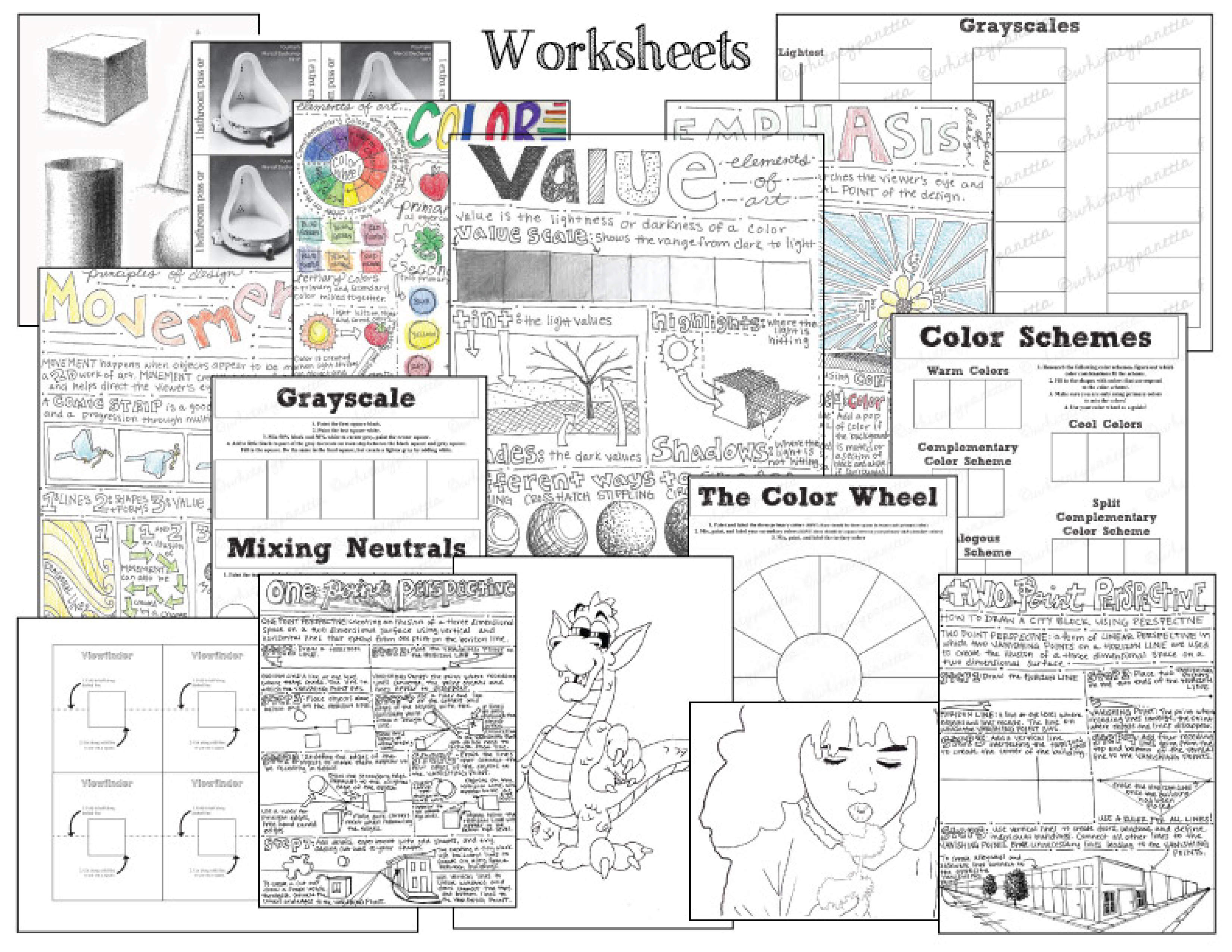 42 Worksheets Includes Elements Of Art Principles Design Visual Journal Drawing Color Theory Perspective Contour Line And Many More
