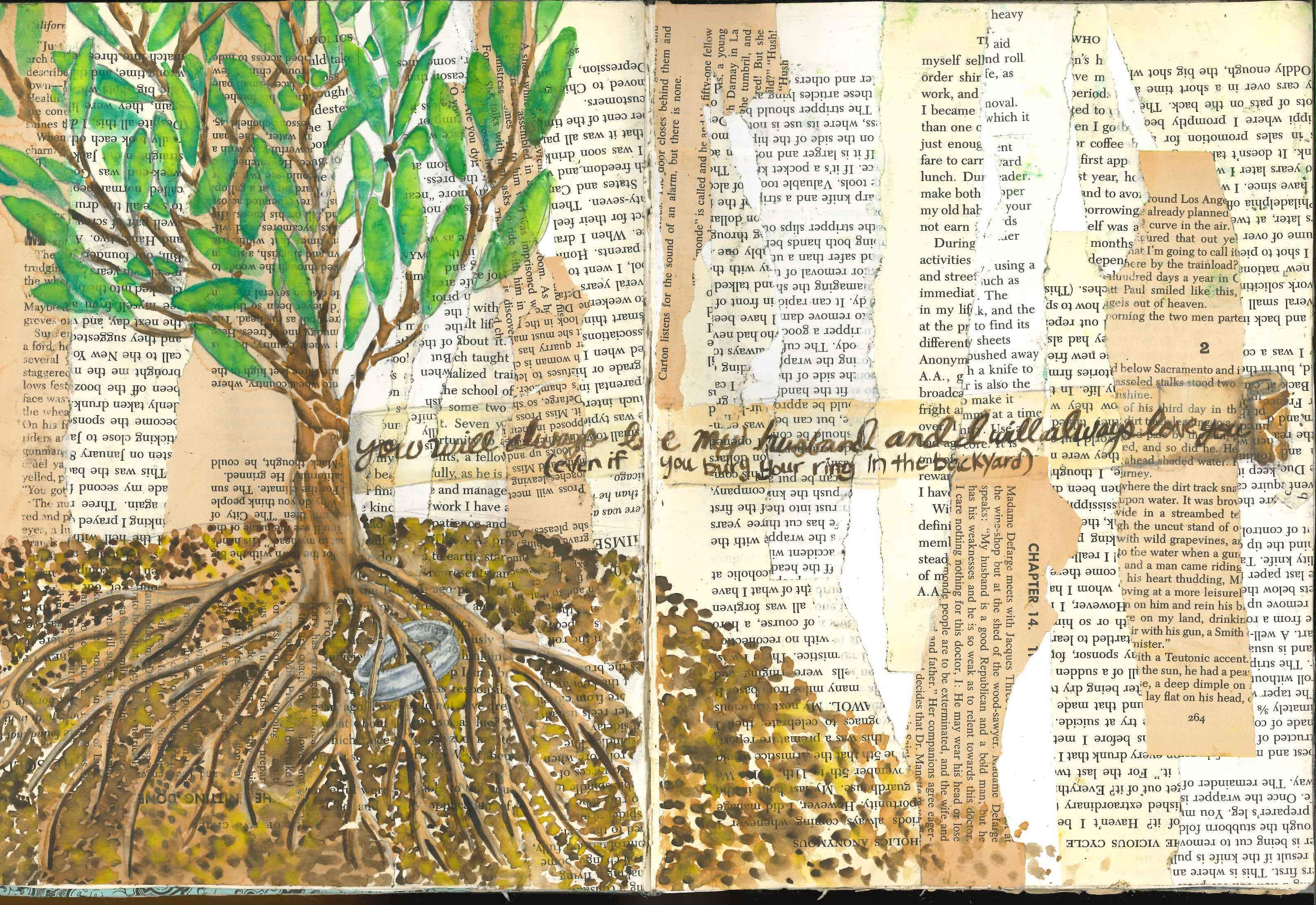 A visual journal page about my husband accidentally being buried in the backyard.