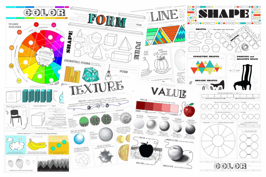 Aspects Of Art : Elements of art worksheet pack tpt sale look between