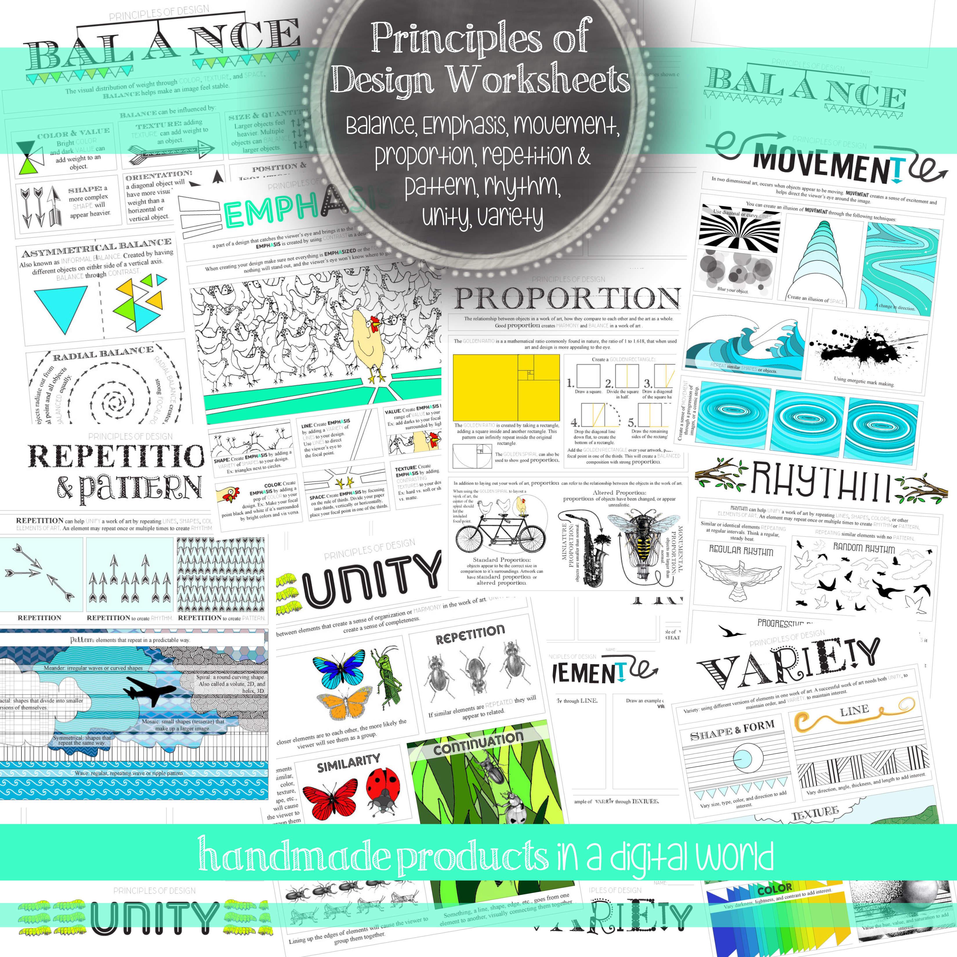 Teachers Pay Teachers: Principles of Design Worksheet Pack | Look ...
