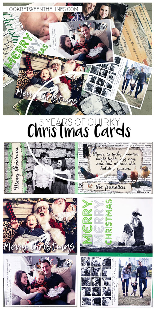 Five years of DIY quirky Christmas cards. These Christmas cards are not your typical perfect, smiling family. Instead, they look to make you laugh through the creative ways the entire family (kids, dogs, chickens, and all) are are put together.