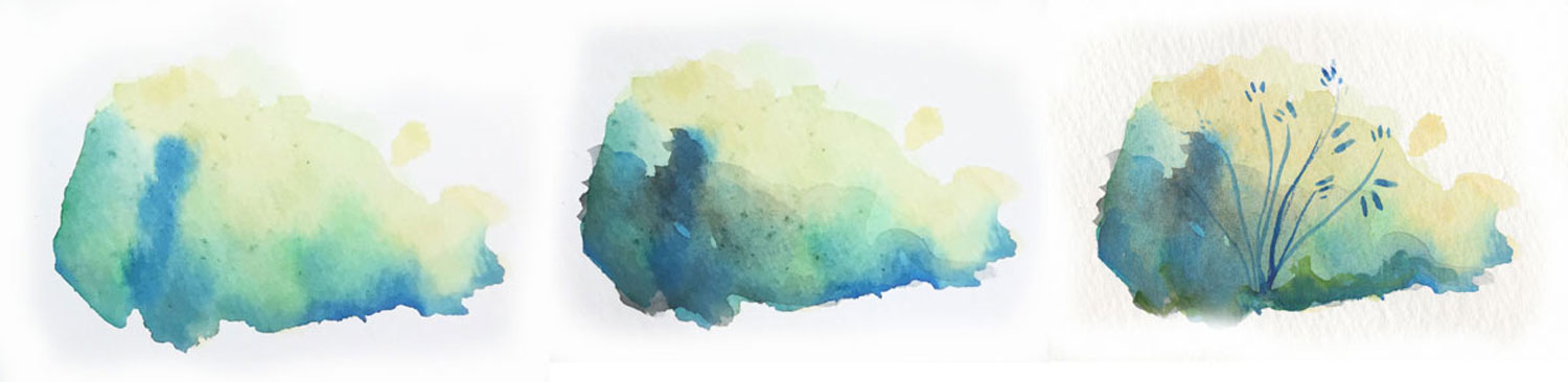 How to paint a floral bush with watercolor paint.
