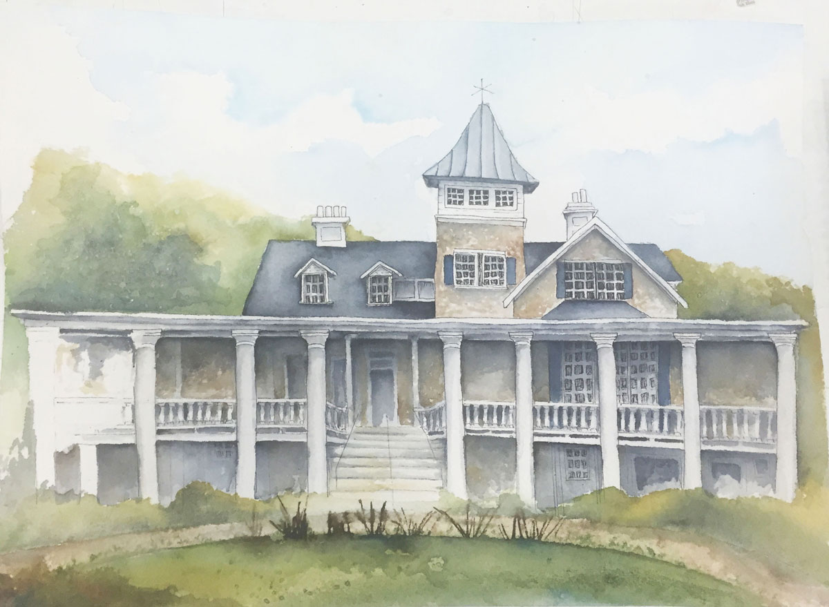 A partially finished watercolor painting of Magnolia Plantation in Charleston, SC.