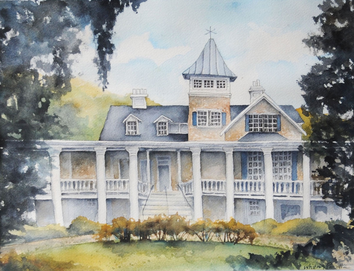 A watercolor painting of Magnolia Plantation in Charleston, SC.