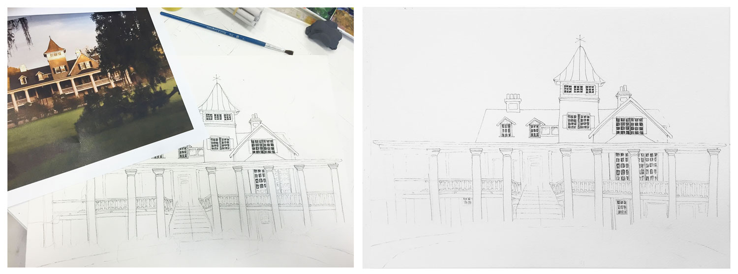 The first steps in watercolor painting, doing a base sketch and inking.