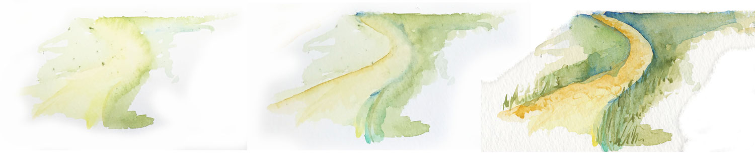 How to paint a path using watercolor paints.