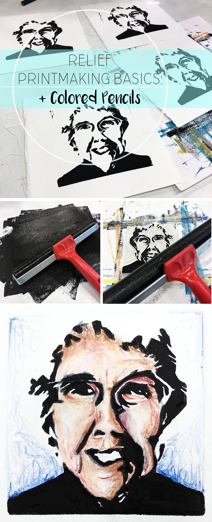 An introduction to relief printmaking that covers the basics of using linoleum to make a portrait print. This assignment is turned into a mixed media project by incorporating Prisma colored pencils to fill in the skin tone of the portrait. This is one post in an art education blog hop. Visit and check out more!