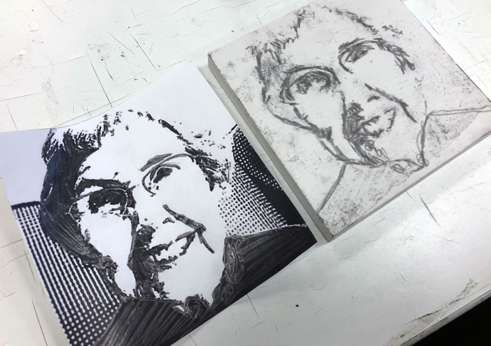 an to relief printmaking that covers the basics of using linoleum to make a portrait