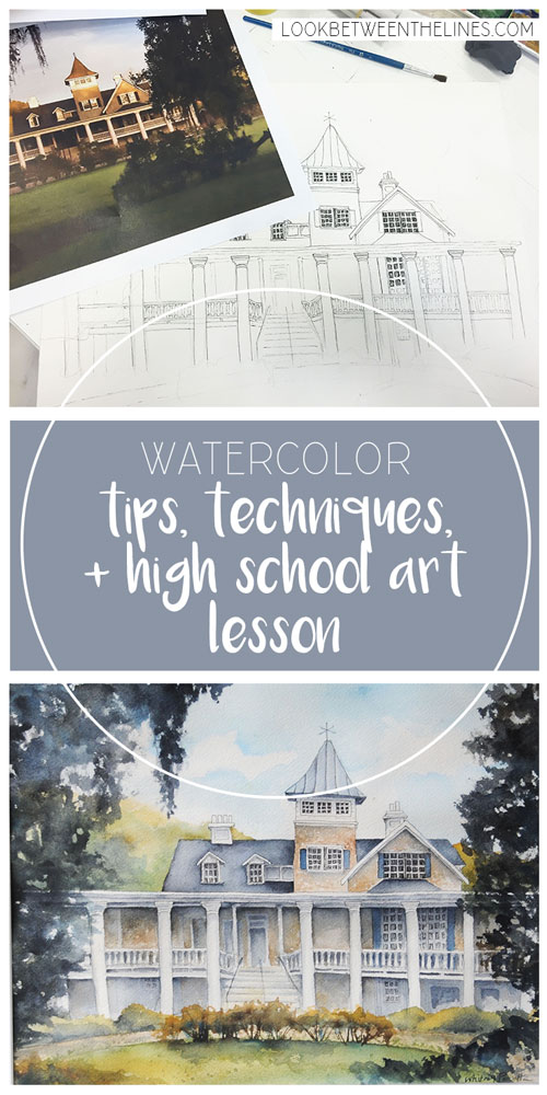 Every year I teach a landscape, architecture watercolor painting to my advanced level high school art students. The first year I taught it, I had to first teach myself how to use watercolors. Read how I did it in this post and check out a link to my lesson plan and resources.