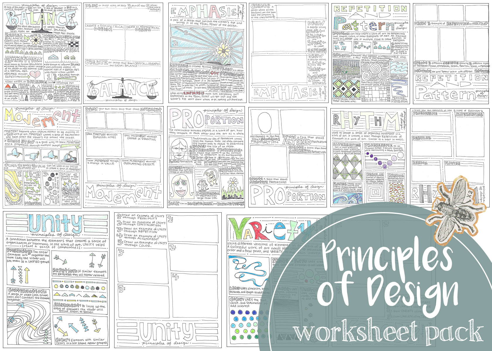 A pack of eight worksheets that cover the principles of design.
