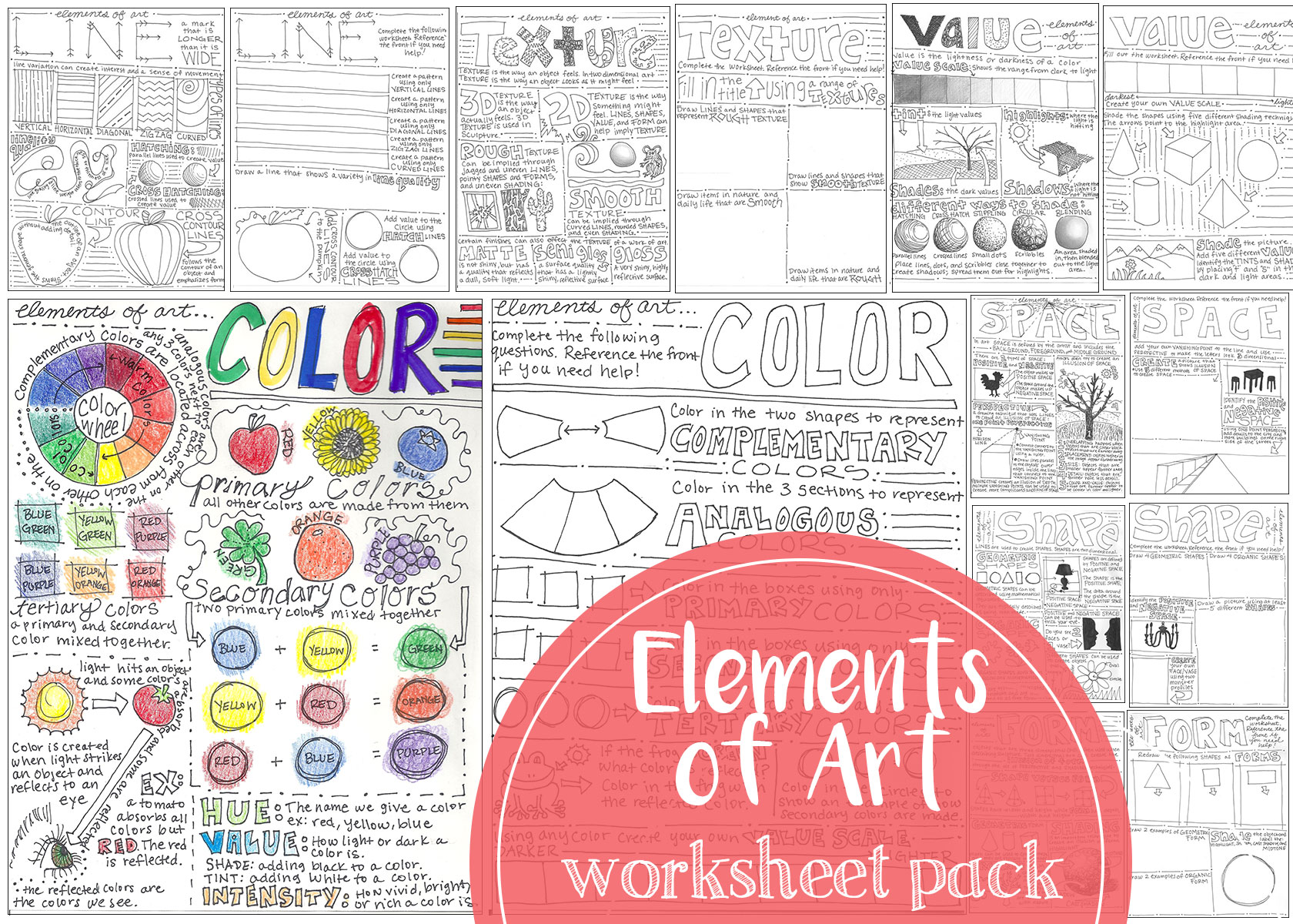Seven back and front worksheets that cover the elements of art.
