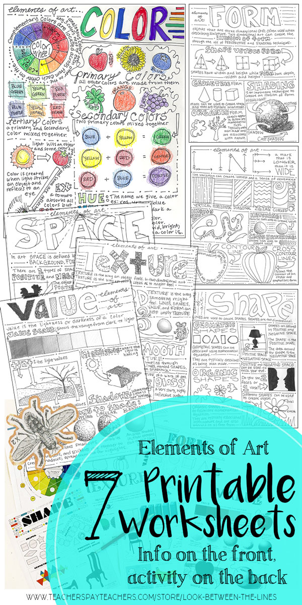Seven back and front worksheets that cover the elements of art. Visual examples and information on the front, activities for the students to complete on the back.