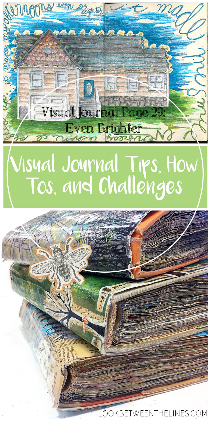 A visual journal page about decorating the exterior of my house with Christmas lights. Visual journal tips, how tos, and challenges are included plus specifics on colored pencils.