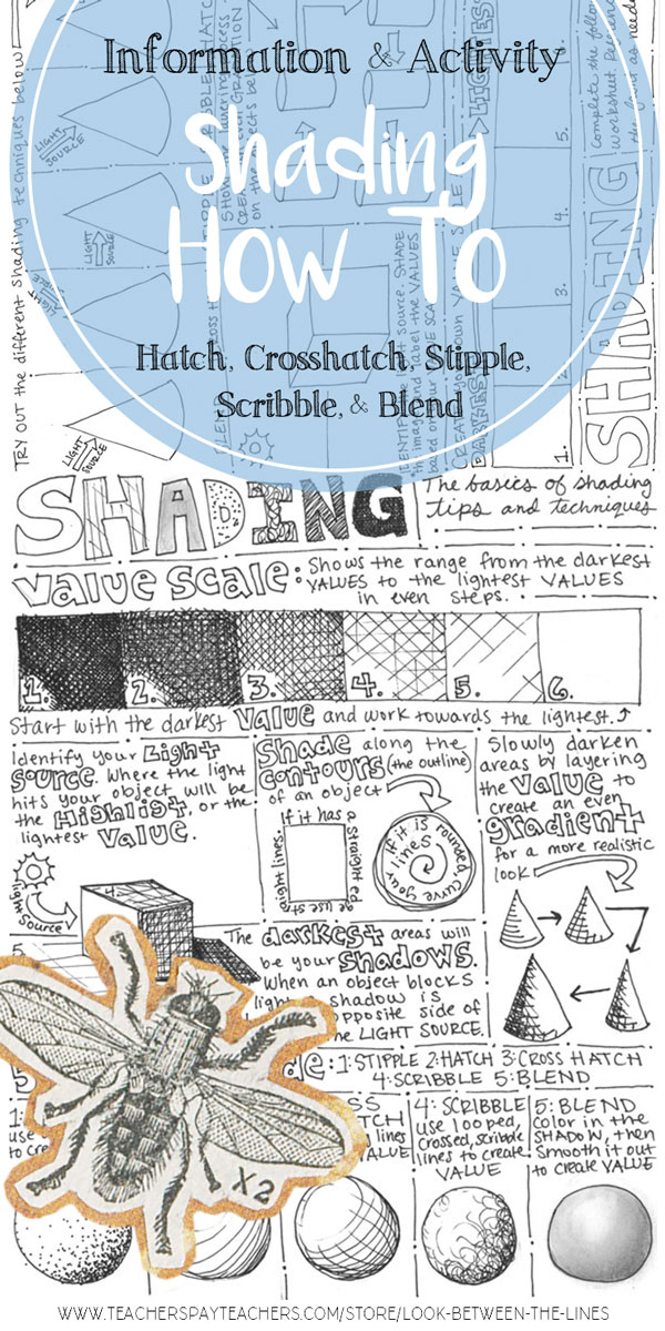 A shading handout with information on hatching, crosshatching, stippling, scribbling, and blending. It's perfect to introduce drawing basics or refresh them with your art students.