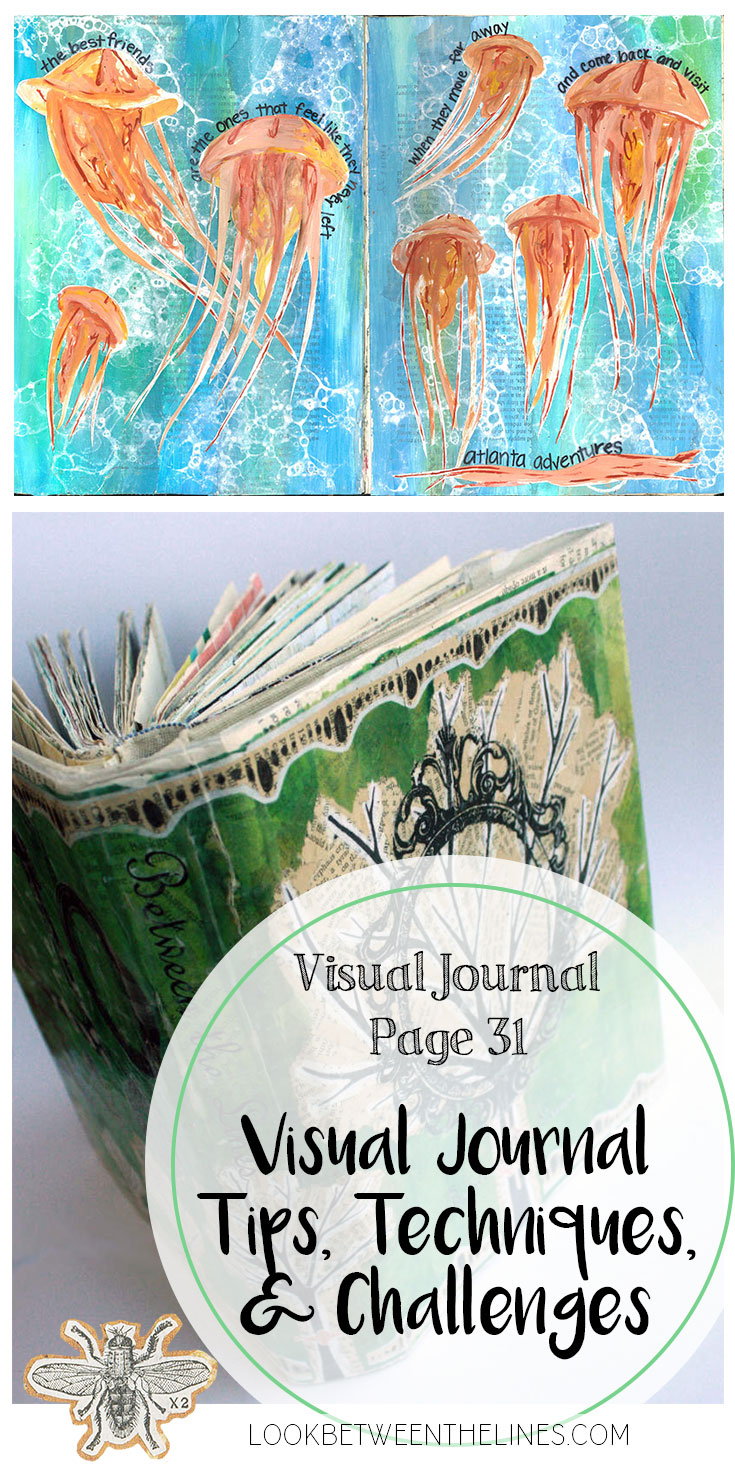 A visual journal page about a lifelong friendship and a trip to the aquarium. Visual journal tips, techniques, and challenges are included.