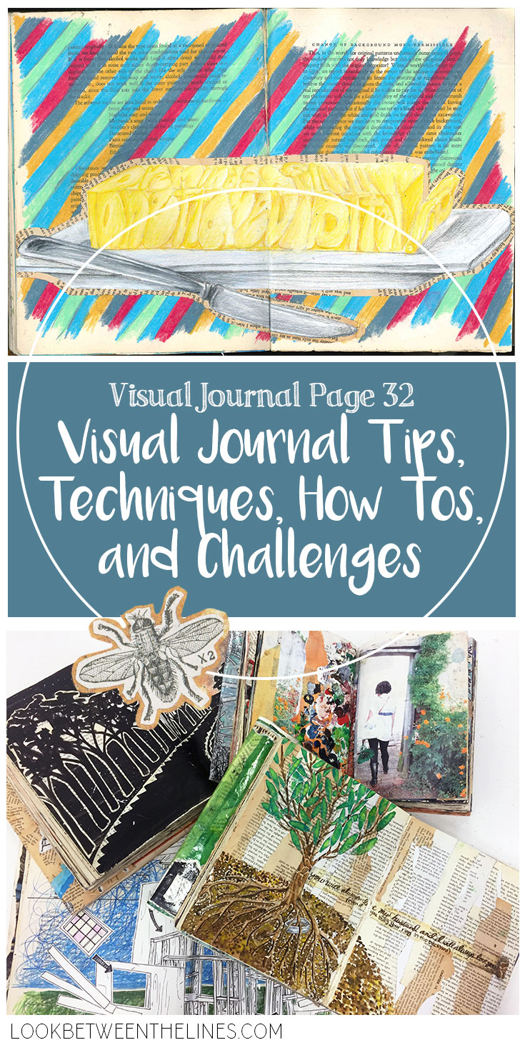 A visual journal made with colored pencils and book pages.