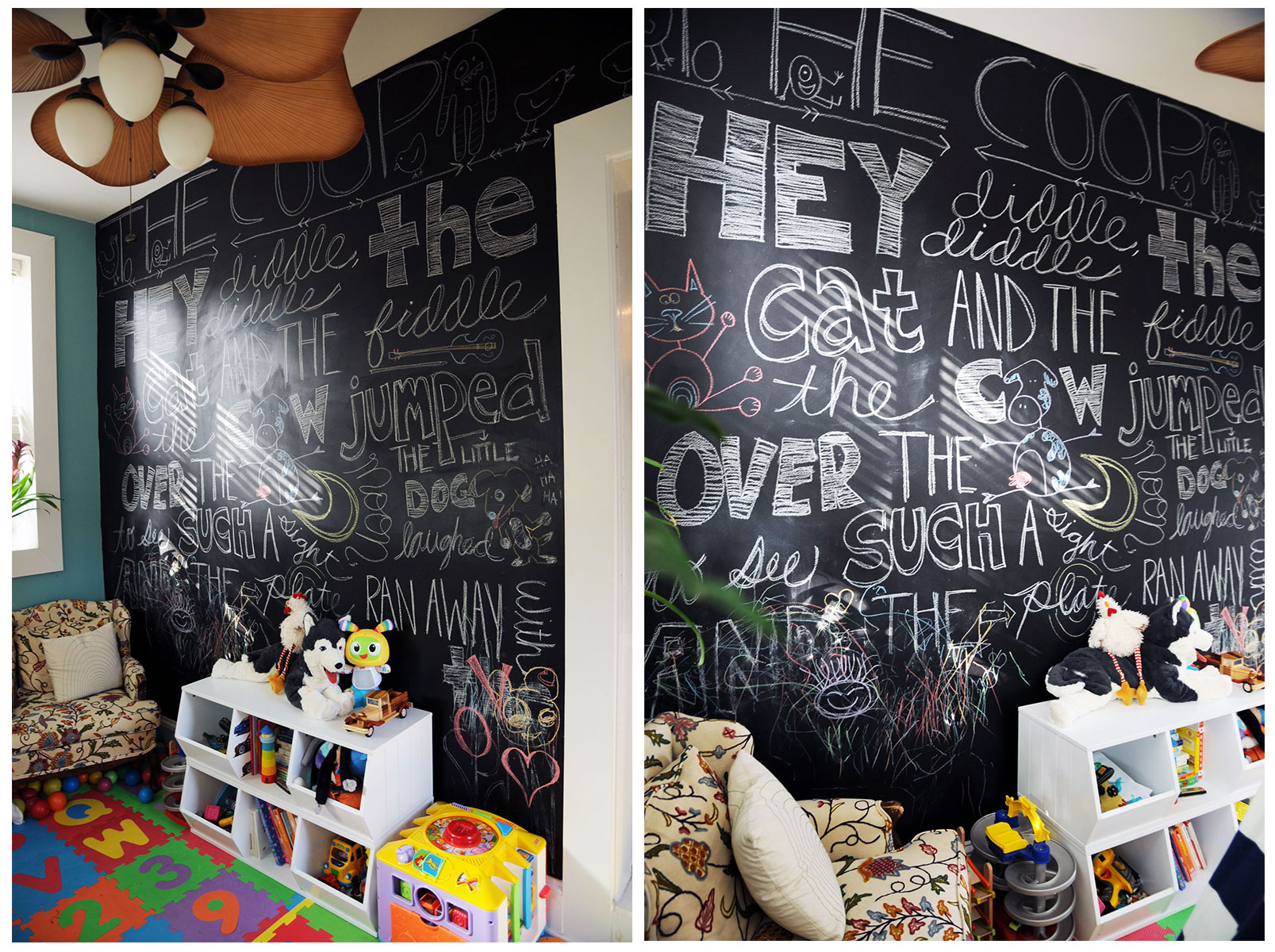 The chalkboard wall in my kids' playroom.