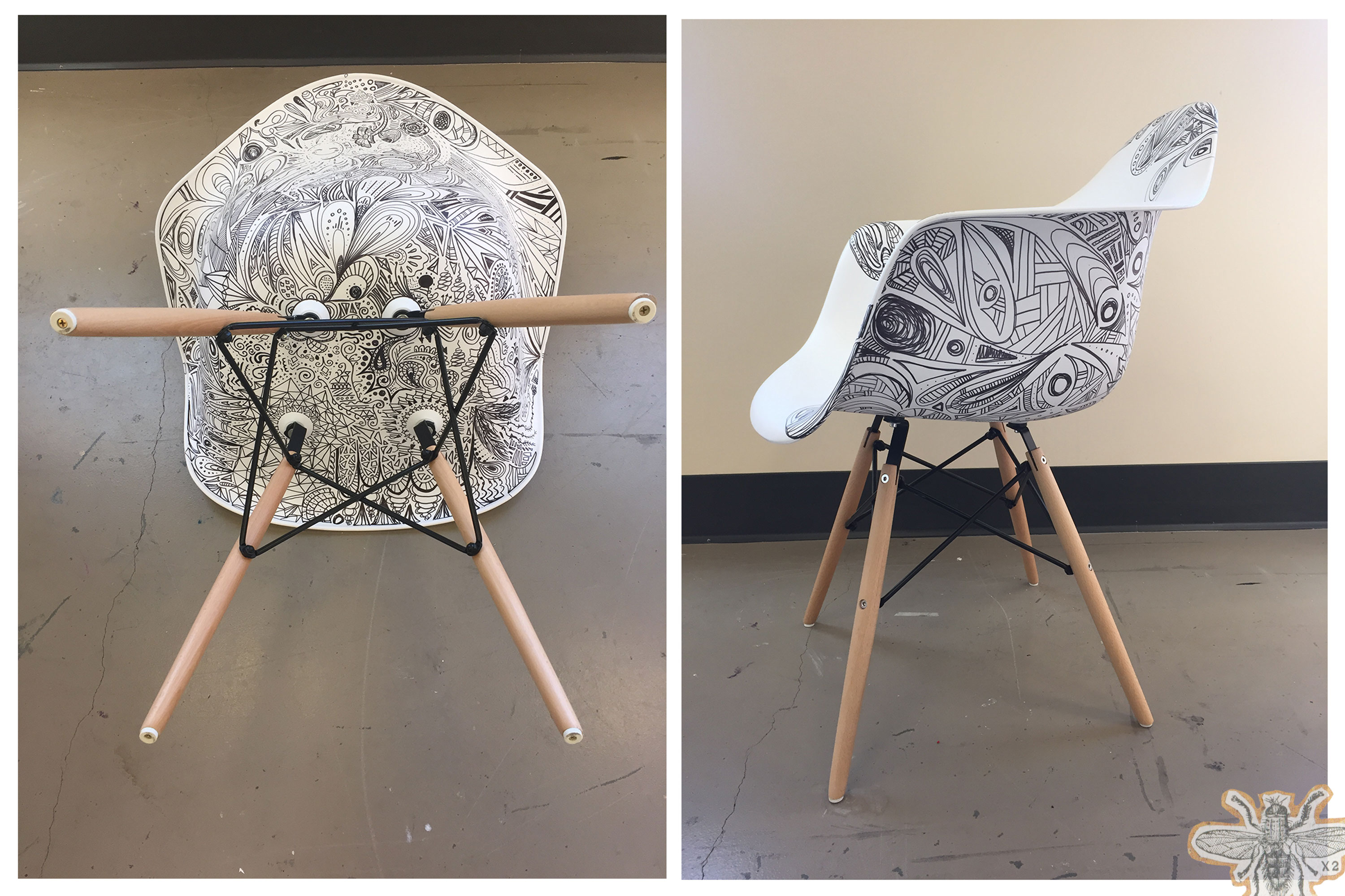 Two modern white chairs that have been decorated with Sharpie doodles.