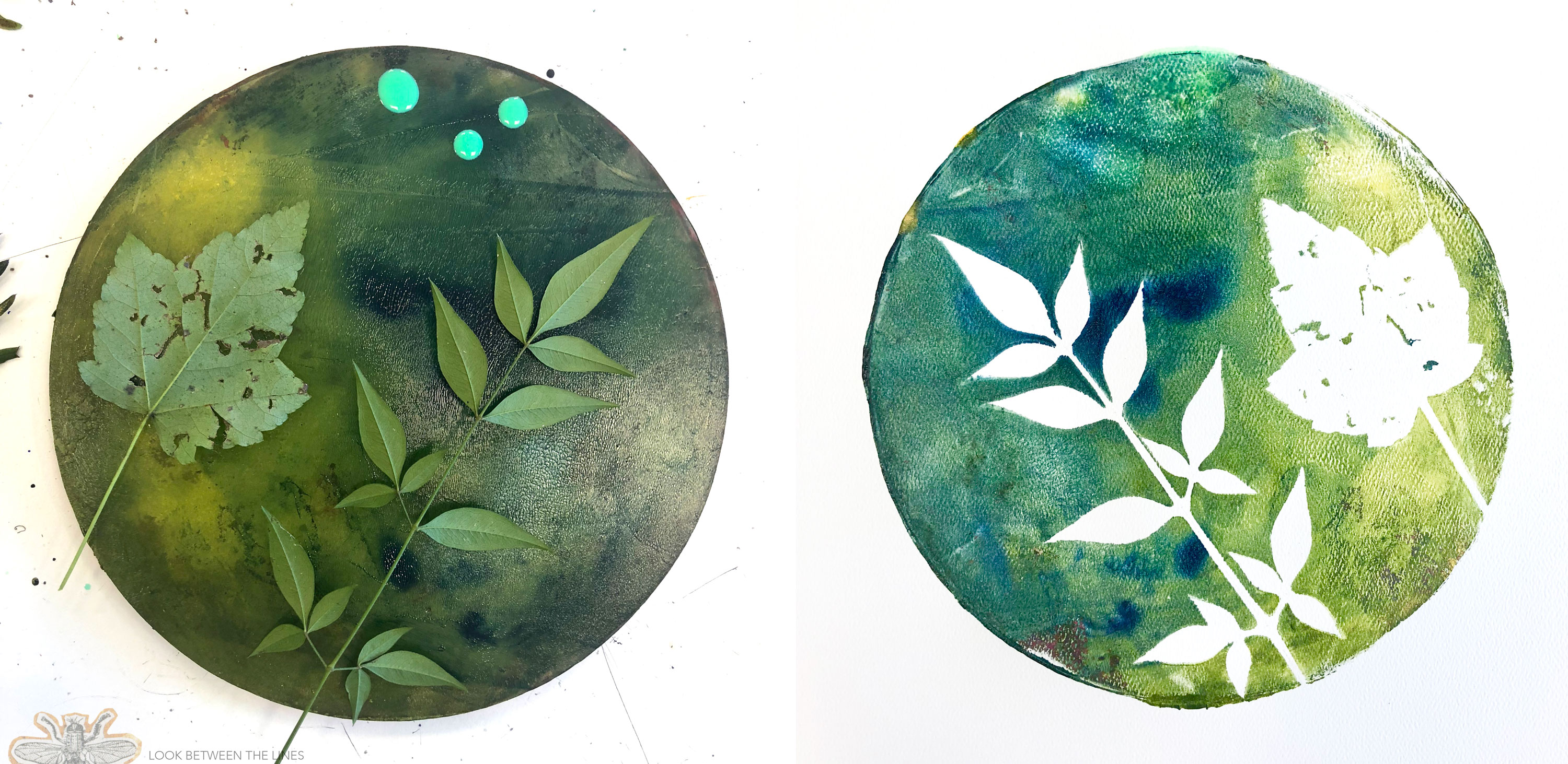 See how to print with leaves using a gelli plate.