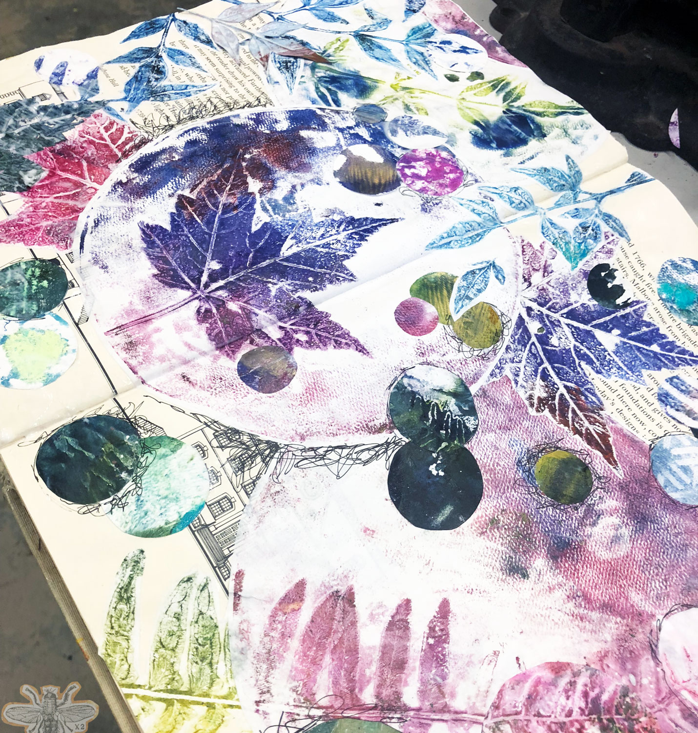 How ghost prints and gelli prints can be collaged into a visual journal.