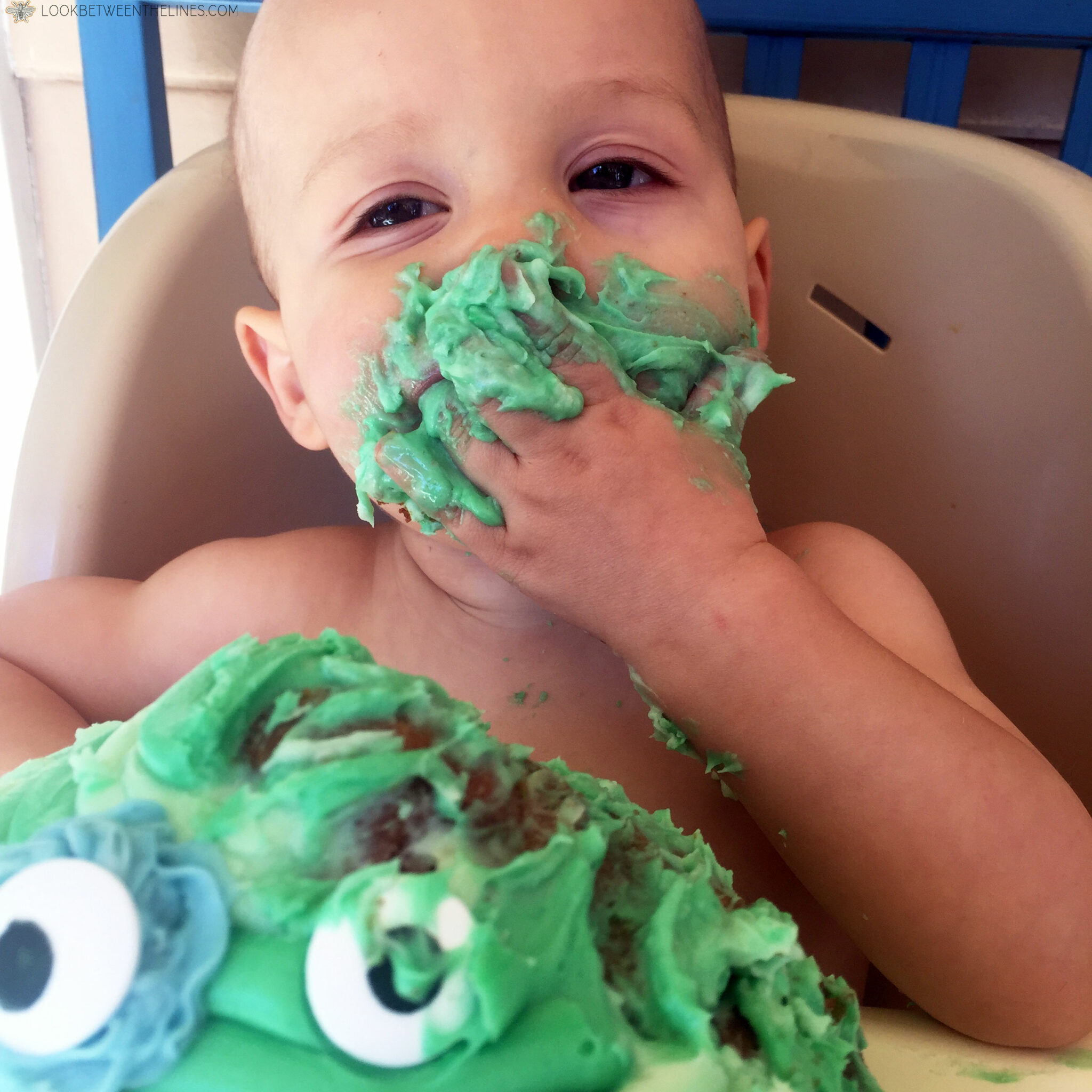 Cooper's monster mash first birthday party. Eating cake.