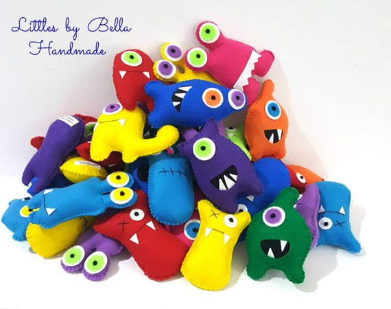 The monster plush party favors for Cooper's first birthday.