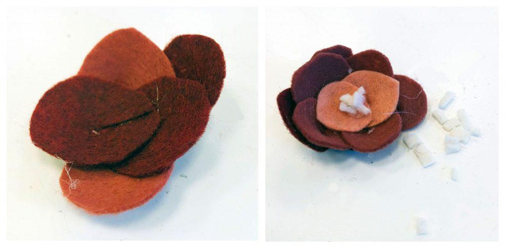 Felt flower peony or camellia