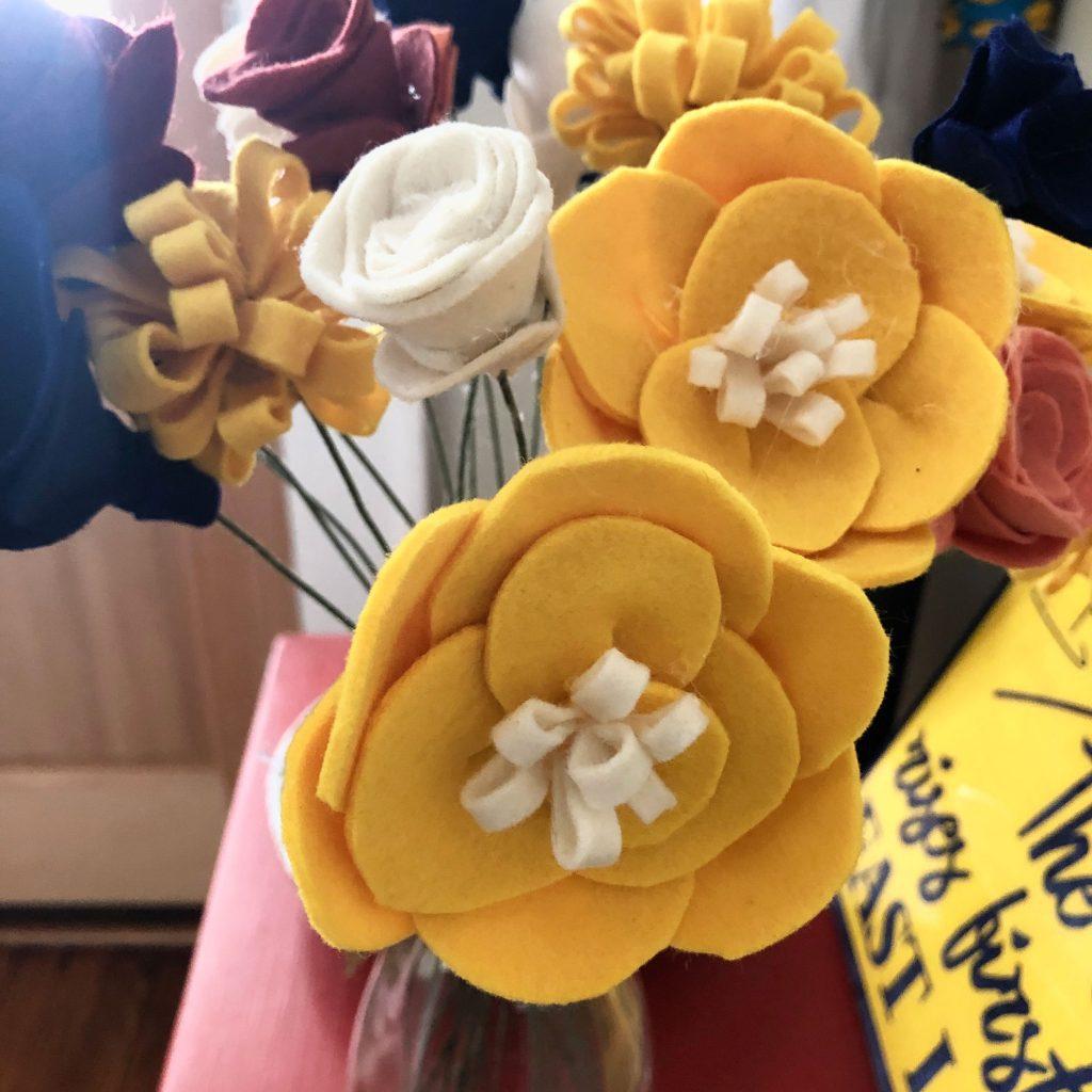 Felt flower peonies
