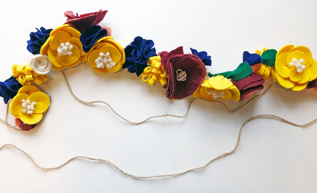 Felt flower garland how to.