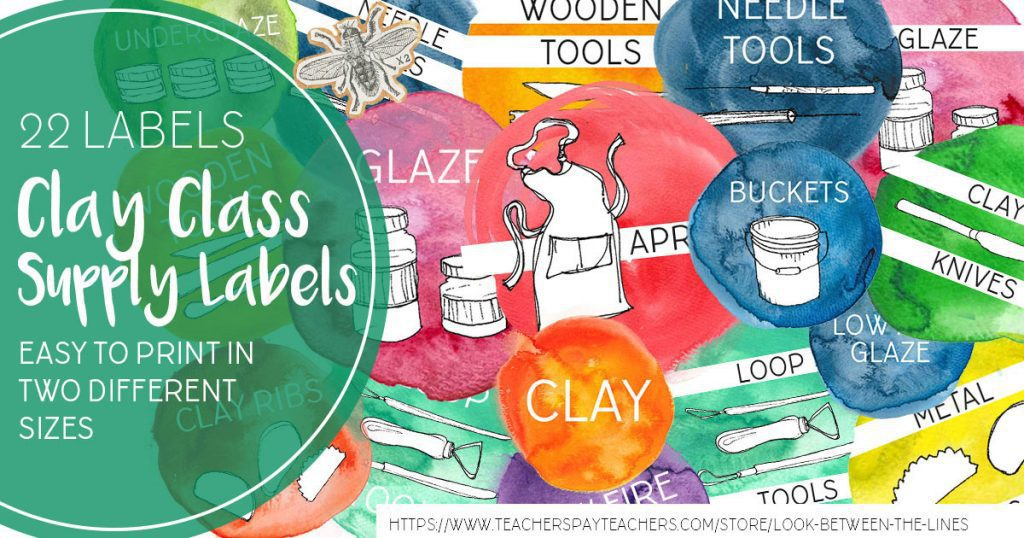 Colorful clay themed printable supply labels.