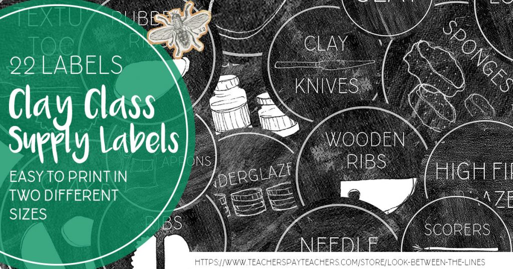 Chalkboard themed printable clay supply labels